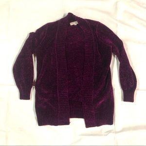 🌹 LOFT purple chenille open cardigan